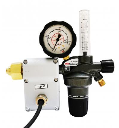 Регулятор для аргона и углекислого газа GCE ProControl c ротаметром и подогрев. 24V