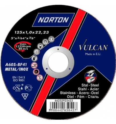 Круг отрезной 125х1.6x22.2 мм для металла Vulcan NORTON
